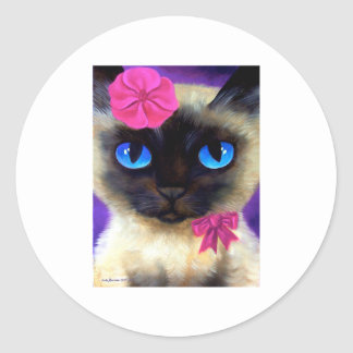 Cat, Sunrise and River Of Life Round Stickers