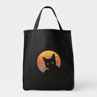 Cat Sunset Vintage Retro Summer Vibes Tote Bag