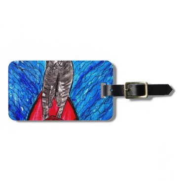 Beach Themed Cat Surfing Bag Tag