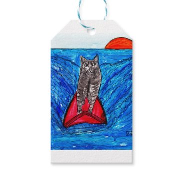 Beach Themed Cat Surfing Gift Tags