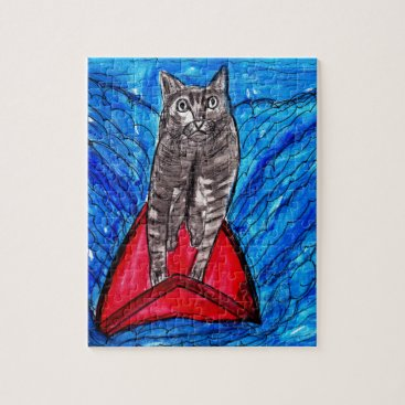 Beach Themed Cat Surfing Jigsaw Puzzle