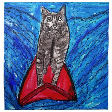 Beach Themed Cat Surfing Napkin