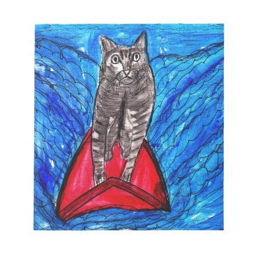 Beach Themed Cat Surfing Notepad