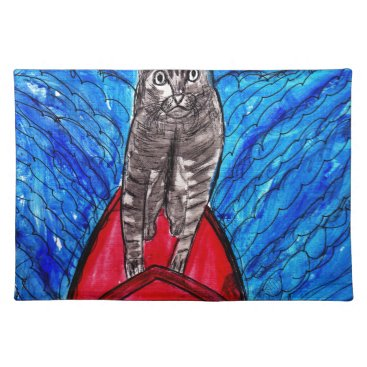 Beach Themed Cat Surfing Placemat
