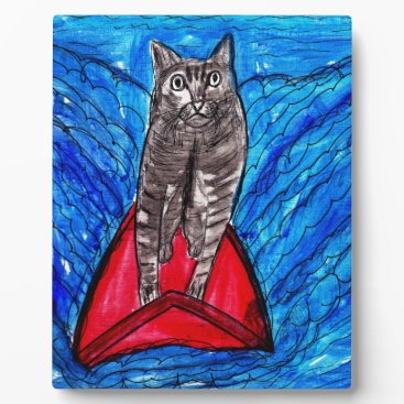Beach Themed Cat Surfing Plaque