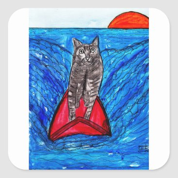 Beach Themed Cat Surfing Square Sticker
