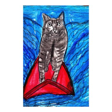 Beach Themed Cat Surfing Stationery
