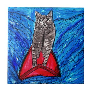 Beach Themed Cat Surfing Tile