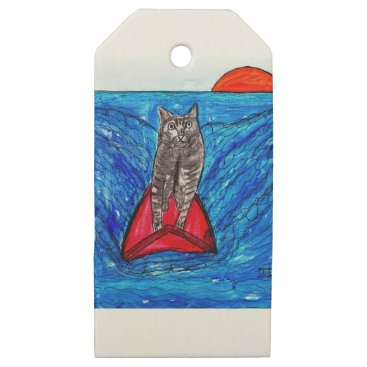 Beach Themed Cat Surfing Wooden Gift Tags