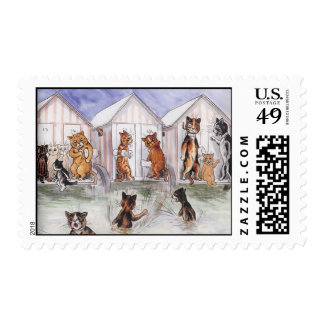 Cat Swimming Party Vintage Postage