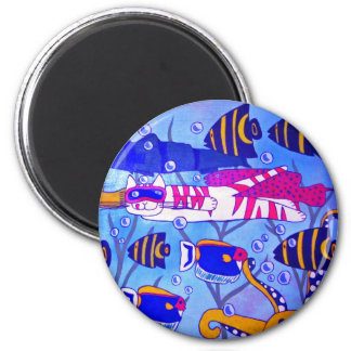 Cat Swimming with Fish 2 Inch Round Magnet