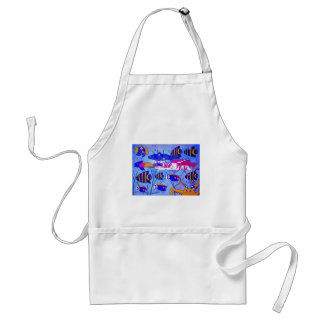 Cat Swimming with Fish Adult Apron