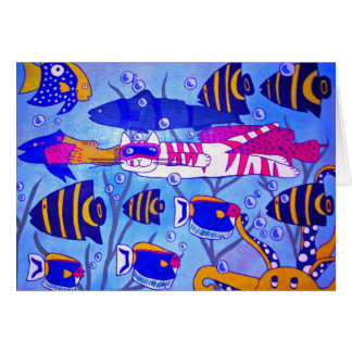 Cat Swimming with Fish Card
