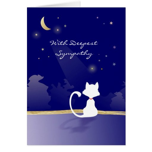 Cat Sympathy Card - Moon and Stars
