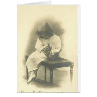 Cat Sympathy Card With Girl