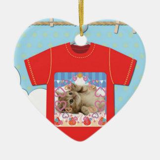 Cat T shirt Ceramic Ornament