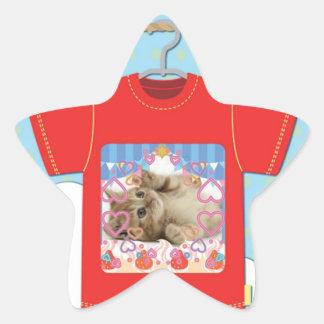 Cat T shirt Star Sticker