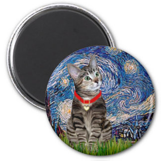 CAT (Tabby2) - Starry Night 2 Inch Round Magnet