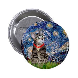 CAT (Tabby2) - Starry Night Button