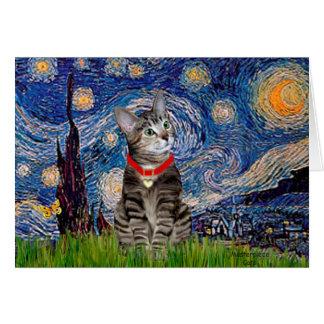 CAT Tabby2 - Starry Night Greeting Cards