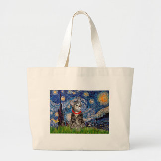 CAT (Tabby2) - Starry Night Large Tote Bag