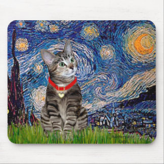 CAT (Tabby2) - Starry Night Mouse Pad