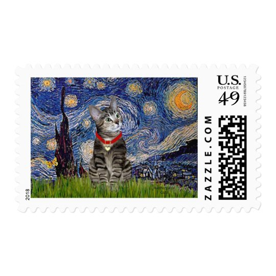 CAT (Tabby2) - Starry Night Postage