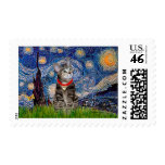 CAT (Tabby2) - Starry Night Postage Stamp