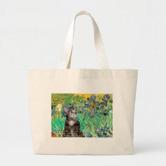 Cat (Tabby 2) - Irises Large Tote Bag