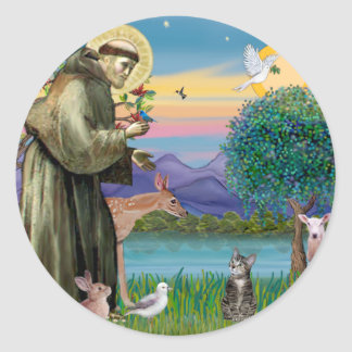 Cat (Tabby 2) - Saint Francis Classic Round Sticker