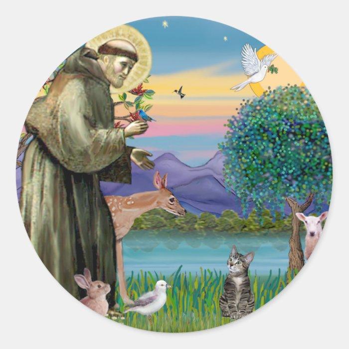 Cat (Tabby 2) - Saint Francis Classic Round Sticker