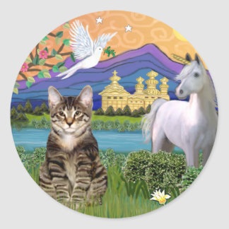 Cat -(Tabby) - Fantasy Land Classic Round Sticker