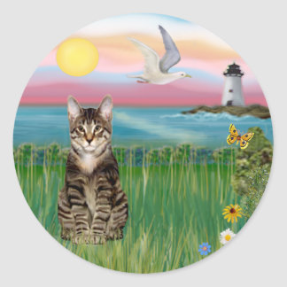 Cat (tabby) - Lighthouse Classic Round Sticker