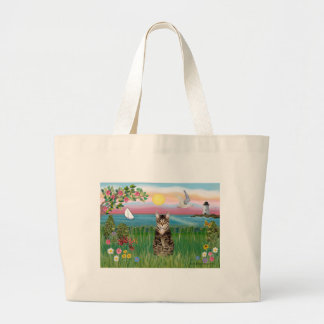 Cat (tabby) - Lighthouse Large Tote Bag