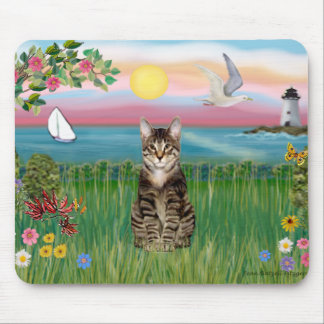 Cat (tabby) - Lighthouse Mouse Pad