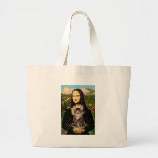 CAT (Tabby) - Mona Lisa Large Tote Bag