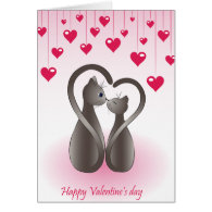 Cat Tail Heart Valentine Card