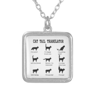 CAT TAIL TRANSLATOR SILVER PLATED NECKLACE