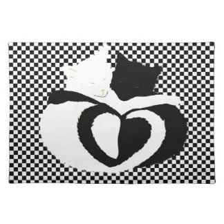 CAT tails - love black white Cloth Place Mat