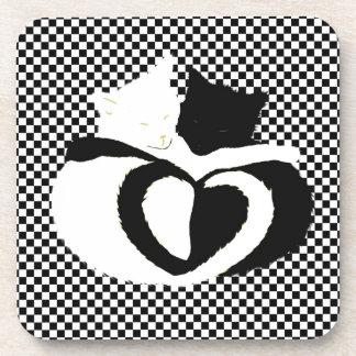 CAT tails - love black white Beverage Coasters
