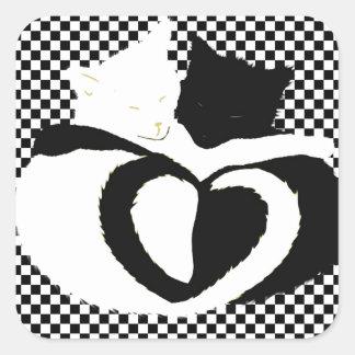 CAT tails - love black white Square Sticker