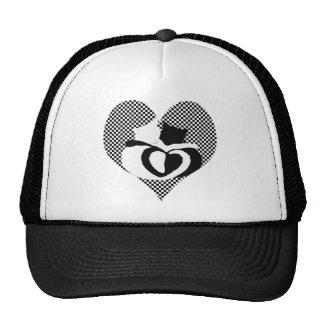 CAT tails - love black white Trucker Hat