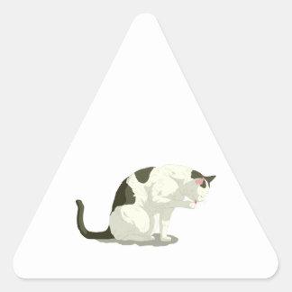 Cat Taking A Bath Triangle Sticker