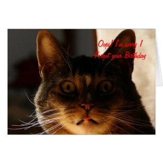 CAT tardío del cumpleaños Tarjeta De Felicitación