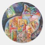 cat-tarot classic round sticker