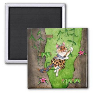 Cat Tarzan Jane swinging in trees 2 Inch Square Magnet