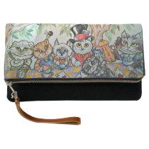 Cat Tea Party Fantasy Art Fold Over Clutch Bag