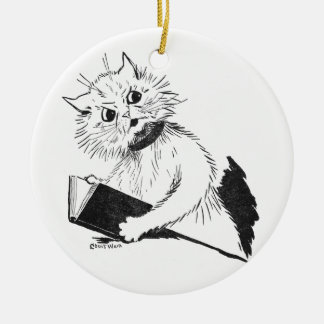 Cat Teacher with Educational Book Ceramic Ornament