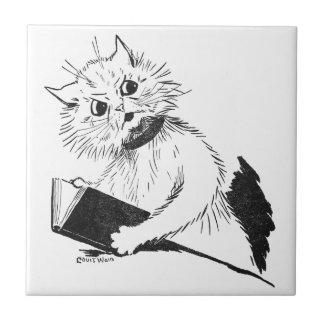 Cat Teacher with Educational Book Ceramic Tile