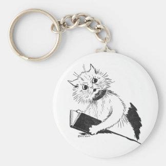 Cat Teacher with Educational Book Keychain